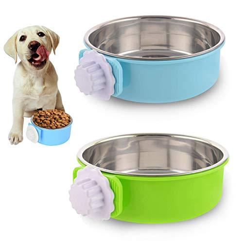 FANDE Fressnapf für Hund, 2 Stück Futternapf für Käfige Futter-Napf Katze Edelstahl Lebensmittel Wasser Schalen für Hunde Katzen mit Schraubbefestigung zum Einhängen 2 in 1, 18.7 * 14.5 * 5.5cm
