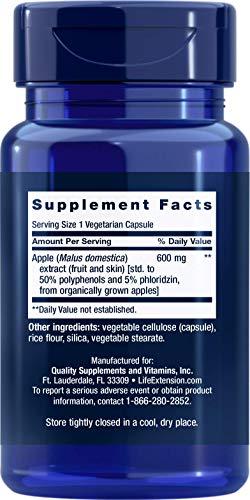 Life Extension AppleWise 600mg Antioxidant-Rich Organic Apple Polyphenols Heart & Colon Health - For Already-Healthy Blood Sugar Levels - Non-GMO, Gluten-Free - 30 Vegetarian Capsules