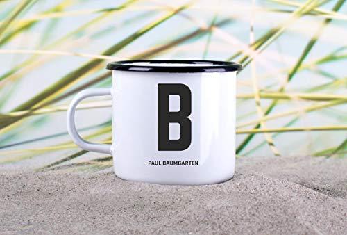 Enamel Mug 10oz Metal Camp Mug Personalized Enamel Mug» Letter «