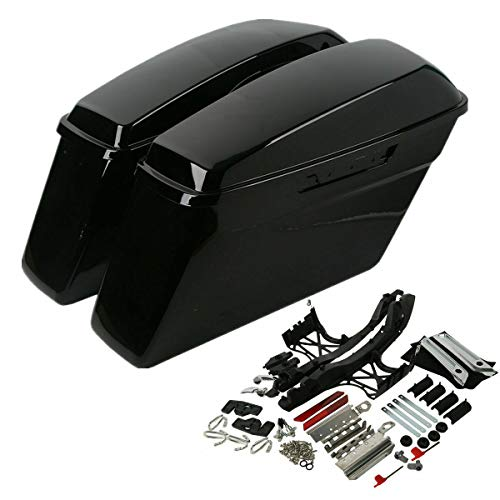 Sale!! TCMT Hard Saddle Bags Touch Latch Cover Key Fit for Harley FLH FLT Electra Glide Road King Ul...