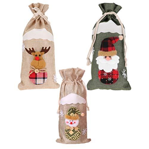 BESPORTBLE Weihnachten Wein Flasche Abdeckung Plaid Wein Flasche Kleid Santa Rentier Schneemann Muster Urlaub Geschirr Party Dinner Tischdekoration Weihnachten Tisch Herzstück für Urlaub