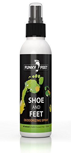 Funky Feet Foot Odor Spray - Shoe Spray Deodorizer & Odor Eliminator - No More Embarrassing Sneaker Smell - All Natural Foot Freshener with Tea Tree Oil and other Pure Odor Eaters for Shoes