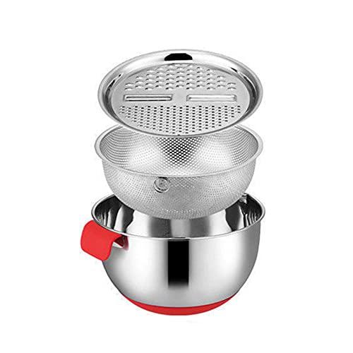 Qagazine - Ciotola multifunzionale in acciaio inox per la preparazione di insalata con cestello di scarico, grattugia per formaggio, per preparare