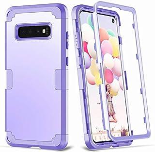 غطاء حماية للهاتف 3 في 1 فهو من السيليكون والمطاط والبلاستيك الصلب، مضاد للصدمات يحمي هاتف سامسونج جالكسي اس 10 بلس