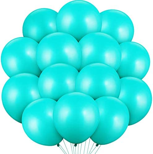48 Pieces Inspired Latex Balloon Metallic Turquoise Teal Aqua Blue Balloons Helium Chrome Balloons product image