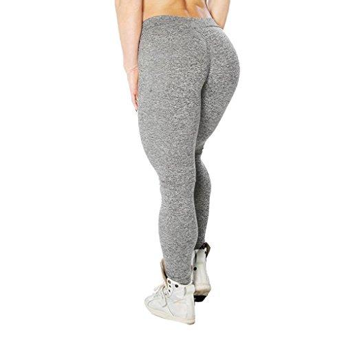 Ularma Damen Fitnesshose Übung Stretch Leggings Hüfte Push-Up Skinny Hose (S, Grau)
