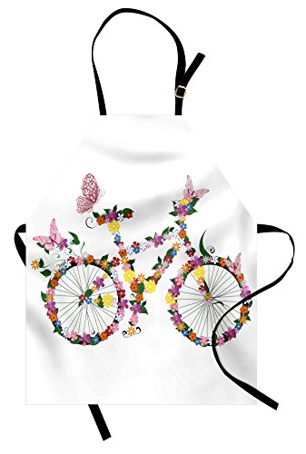 Lunarable Butterflies Apron, Bike with Flowers Butterfly Spring Fun Cycling Exercise Sport Transportation, Unisex Kitchen Bib with Adjustable Neck for Cooking Gardening, Adult Size, Green Pink