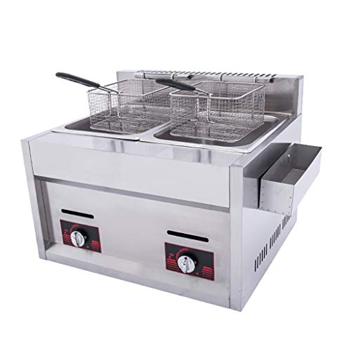 Best Deals! Fryer Double Cylinder Gas Deep 20L Commercial Deep with Seasoning Trough And 2 Stainless...