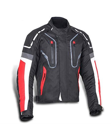 Jet Motorradjacke Motoradkleidung Herren Mit Protektoren Textil Wasserdicht Winddicht Hochleistung DAYTONA (Rot, XL)