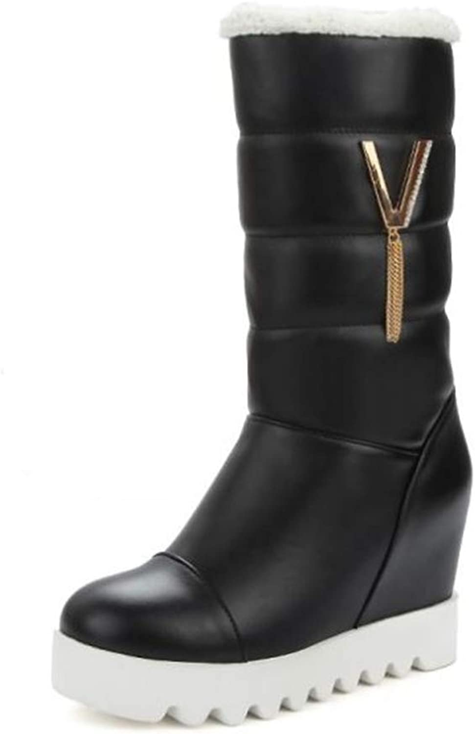 Smart.A Women's PU Winter Boots, Increased Bow Boots Plus Velvet Platform Boots