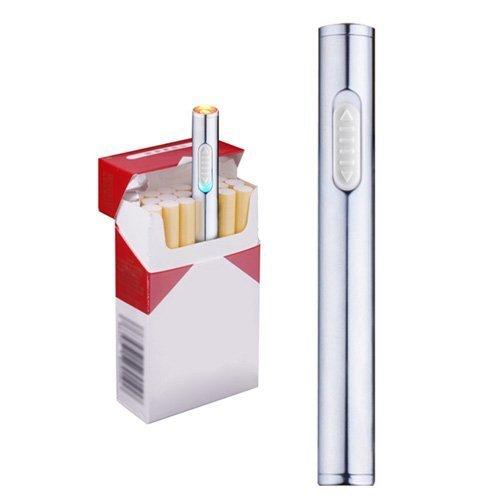 Mini USB de mechero, recargable, resistente al viento, mechero electrónico plasma sin llama, portátil, plata