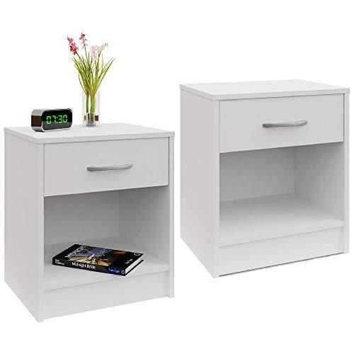 Deuba Nachttisch 2er Set Schublade mit Griff Weiß 50 x 40 x 35 cm Holz Nachtkommode Nachtkonsole Kommode Nachtschrank