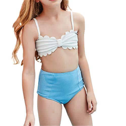 Traje de baño de niña con volantes Bikini sin mangas Tops Triángulo Bottoms Niñas Vacaciones Patrón sólido Bikini Set dos piezas traje de baño traje de baño