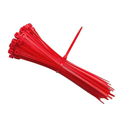 intervisio Bridas de Plastico para Cables 200mm x 4,8mm / Color Rojo / 100 Piezas