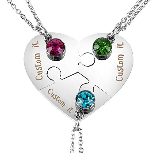 Personalized Matching Heart Puzzles Pieces Custom Name Birthstone Friendship Necklaces for Best Friends of 3
