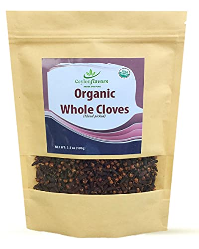 Organic Premium Grade Hand Picked Whole Cloves 3.5oz Finest Quality. Harvested from a USDA Certified Organic Farm in Sri Lanka