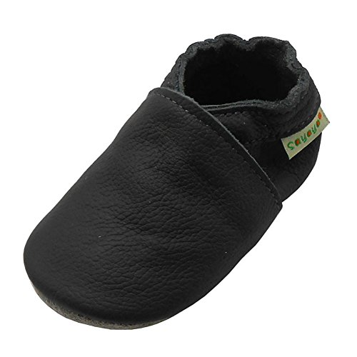 SAYOYO Baby Soft Sole Prewalkers Anti-Skip Baby Toddler Shoes Cowhide Shoes (6-12 Months, Dark Grey)