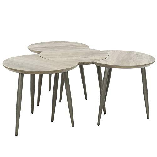 L'Héritier Du Temps Table Basse Modulable Marque Hinsk Consoles d'Appoint Bout de Canapé 4 Pièces en Acier et Bois 45x101x142cm