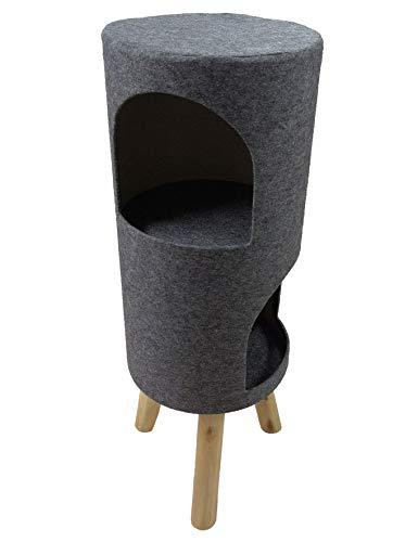 HD2DOG Barriles Rascadores para Gatos Multinivel, 87.5 Cm De Alto Centro De Actividades para Torres De Árboles Rascadores De Gatos,Gris