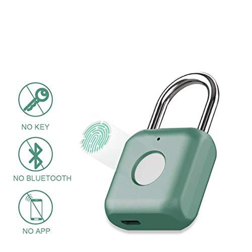 Hangslot met vingerafdruk en hangslot, keyless USB-opladen, biometrisch, hoge veiligheidsvergrendeling voor gymlocker, shed locker, magazijnunit, bagage, koffer groen