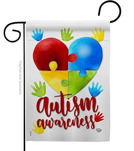 """Ornament Collection Autism Awareness Garden Flag Support Inspirational Survivor Ribbon Prevention Cancer Breast BLM House Decoration Banner Small Yard Gift Double-Sided, 13""""x 18.5"""", Made in USA"""