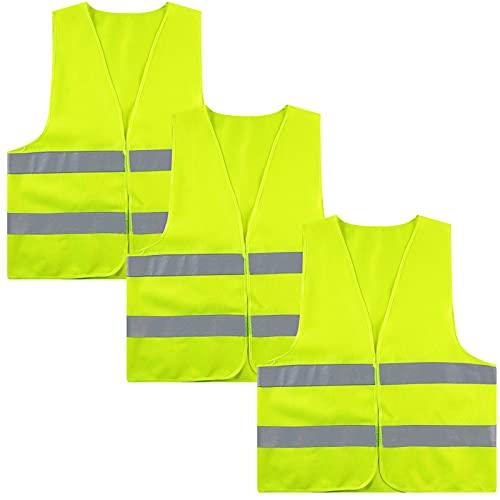 ITME 3 Pack Chaleco de seguridad de alta visibilidad con tiras reflectantes, Chaleco reflectante para correr o andar en bicicleta Chaleco reflectante para automóvil (amarillo fluorescente)