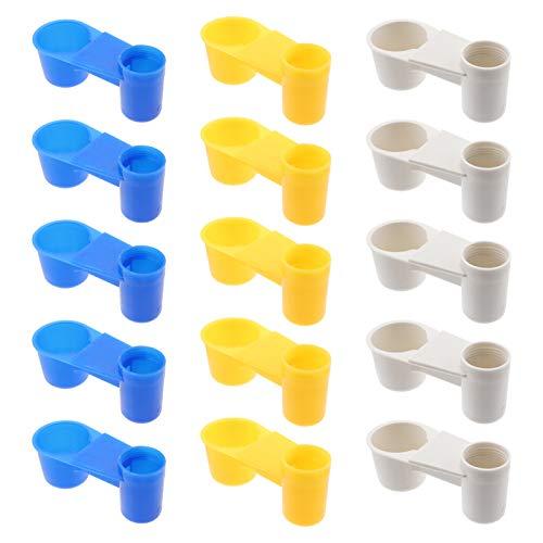 YARNOW 15Pcs Vogeltrinker Feeder Tasse Plastik Soda Pop Wasserflasche Hühnertauben Taubenfutter durch Tierfütterungszubehör (Blau Weiß Gelb)