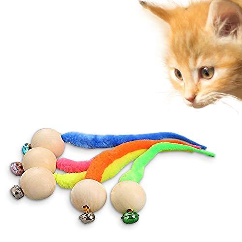 Yisscen katzenspielzeug, Ball interaktiv, Simulationswurmspielzeug Mit Glocke Für Haustier, Neueste wackelige Bälle Katzenglockenspielzeug, Interaktive Katzenangel (2 Stück - zufällige Farbe)