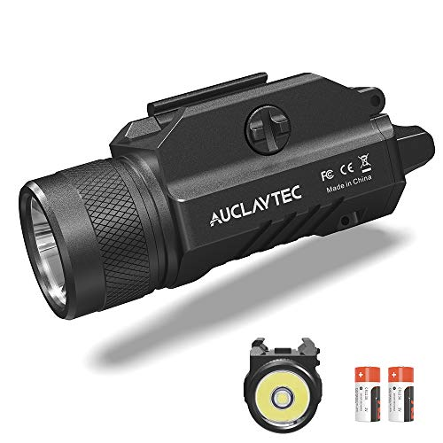 AUCLAYTEC Gun Light 1200 Lumens Compact Pistol Light LED Tactical for Picatinny MIL-STD-1913 and Glock Pistol Weapon Light with Cree XML2 LED 2 x CR123A Lithium Batteries…