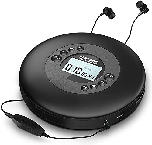 Portable CD Player with Headphones, Anti-Skip CD Players for Home Rechargeable with LCD Display, CD Player portable for car with 3.5mm AUX Cable, Anti-Shock Lightweight CD Player Sports with Carry Bag