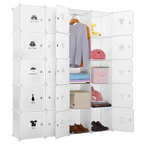 LANGRIA Armoire avec Penderie Modulable 20 Cubes avec Tige a Vêtements, Autocollants Divers pour Décor, Meuble...