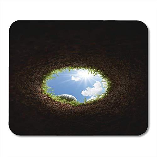 Mauspad Gras Golfball Blick von innen The Hole Sport Mousepad für Notebooks, Desktop-Computer Mausmatten, Büromaterial