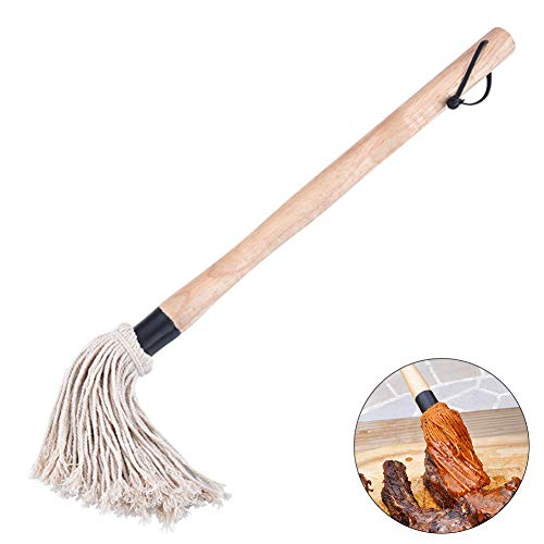 housesweet BBQ Sauce Mop Barbecue Grill Basting Mop Pinsel mit abnehmbarem Kopf Holzgriff
