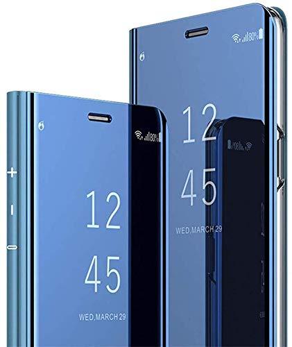 QPOLLY Miroir Coque Compatible avec Huawei Mate 30 Lite/Nova 5i Pro, Portefeuille à Rabat Etui en Cuir + Dur PC Transparent Clear View Design Placage Folio Stand Housse de Protection,Bleu