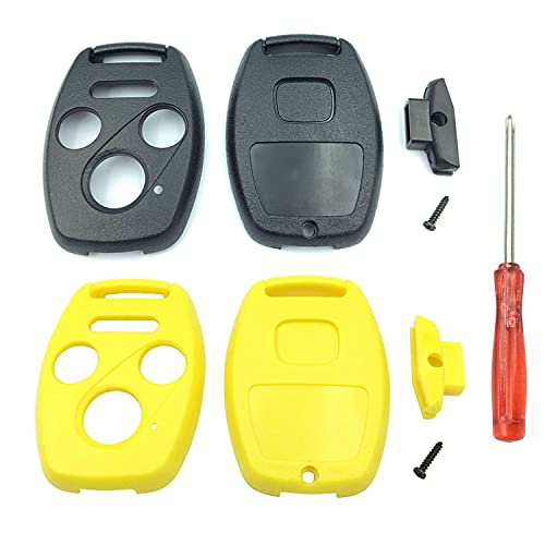Key Fob Shell Case Replacement for 4 Button Honda,Key Fob Cover with Screwdriver,Compatible for Honda 2003-2012 Accord / 2006-2013 Civic EX / 2009-2015 Pilot /2005-2006 CR-V (Black+Yellow)