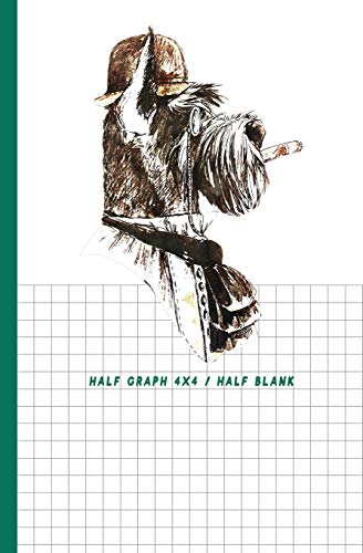 """Half Graph 4x4 / Half Blank: Half Graph Paper 4x4 (four squares per inch 0.25"""" x 0.25"""") And Half Blank Paper on Same Page: Quadrille, Coordinate, Quad ... and Math Paper Journal Notebook Organizer"""