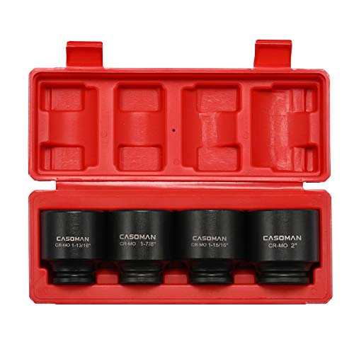 CASOMAN 1/2'' Drive Spindle Axle Nut Impact Socket Set, 6 Point, CR-MO,1-13/16, 1-7/8, 1-15/16, 2 inch, 4PC 1/2-Inch Impact Socket Set, Heavy Duty Use In Removing And Installing Axle Nuts