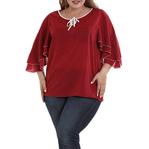 FAMILIZO Camisetas Mujer Verano Tallas Grandes XL~5XL Blusa Mujer Elegante Camisetas Mujer Manga Corta Gasa Camisetas Mujer Fiesta Floral Camisas Mujer Elegantes Largo