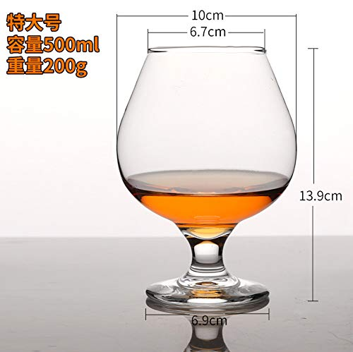 Luxury glass Brandy Cup met hoge voet, korte rode wijnbeker, fijne cognac-beker, loodvrije glazen beker met grote buik, vier extra grote 500 ml