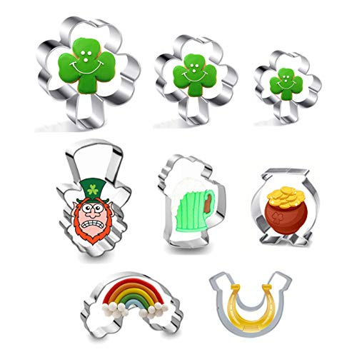 Moleou St.Patrick's Day Cookie Cutter, Saint Patrick's Day Irish Party Supplies Include- Shamrock, Leprechaun, Gold Coin, Pot of Gold, Rainbow, Beer mug.