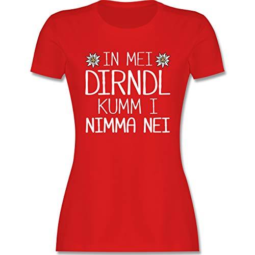 Oktoberfest Trachtenshirt Damen Party Trachten - In MEI Dirndl kumm i nimma nei weiß - XL - Rot - Rundhals - L191 - Tailliertes Tshirt für Damen und Frauen T-Shirt