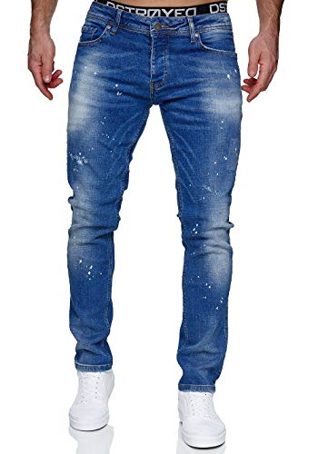 MERISH Jeans Herren Slim Fit Jeanshose Stretch Denim Designer Hose 1507 (33-34, 1507-1 Hellblau)