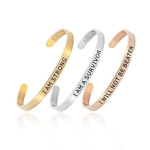 Amour Noir Armreif-Set innere Stärke, 3 Armreifen, Achtsamkeit Silber, Gold & Rotgold vergoldet. Schönes Geschenk. Unisex