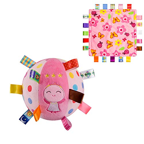 Inchant Baby Plush Stuffed Rattle Ball and Taggies Baby Security Blanket, Sensory Ring Bell Ball for Early Education, Taggy Blanket Comforter for 0-3 Years