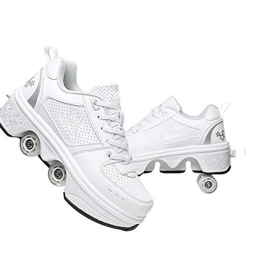 HANHJ Rollschuhe Erste Wanderer Sneakers 2in1 Mehrzweckschuhe Mit Rädern Skateboarding Schuhe Inline Skates Einstellbare Quad Roller Skate Stiefel, Skateboardschuhe,White-34