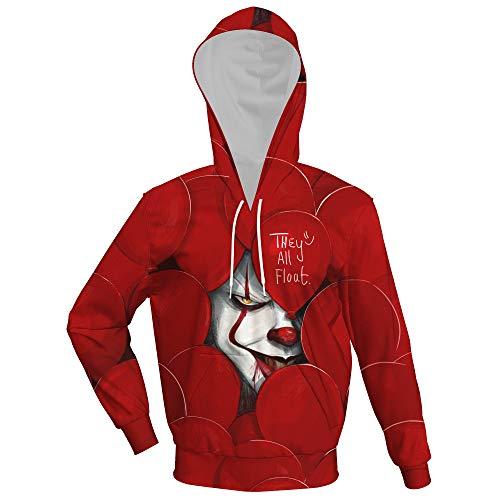 Payaso Sudadera con Capucha Clown Hoodie V Pullover para Adultos Original Diseño Algodón Rojo/Blanco