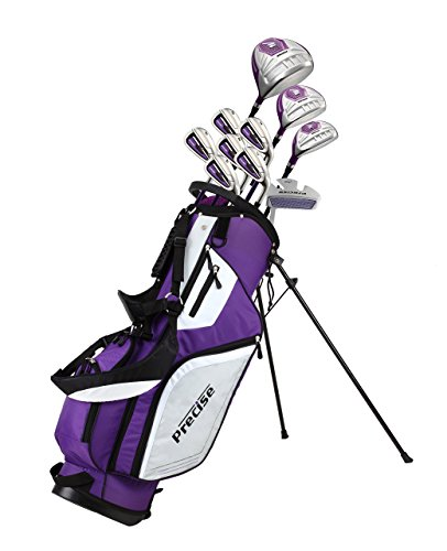 Precise M5 Ladies Womens Complete Right Handed Golf Clubs Set Includes Titanium Driver, S.S. Fairway, S.S. Hybrid, S.S. 5-PW Irons, Putter, Stand Bag, 3 H/C's Purple (Right Hand)