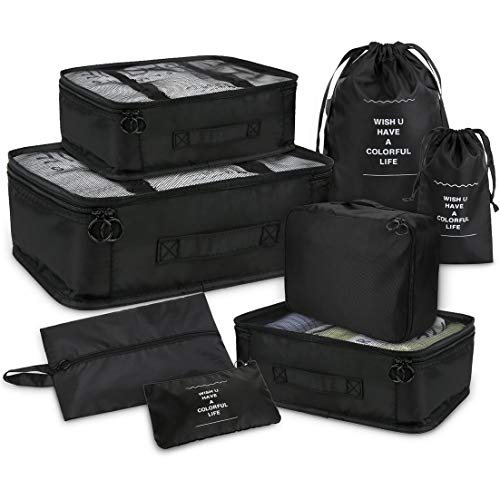 Joyoldelf Set of 8 Travel Essential Bags-in-Bag Packing Cubes, Upgraded Suitcase Luggage Storage Bags Organiser for Dry Clothes, Shoes, Underwear, Cosmetics, Books, Candies and More (Dark Black)