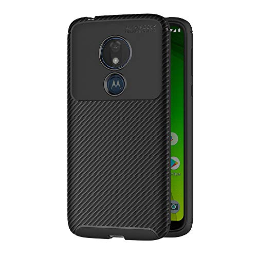 AICEK Compatible Moto G7 Power Hülle, Schwarz Silikon Handyhülle für Motorola Moto G7 Power Schutzhülle Optik Karbon Soft Hülle (6,2 Zoll)