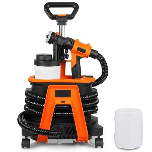 Paint Sprayer 1200W with 2PCS 1200ML Detachable containers, Spray Flow 1100ml/min, 3 Copper nozzles, Universal Wheels, air Hose 3.5m- SGP17AC